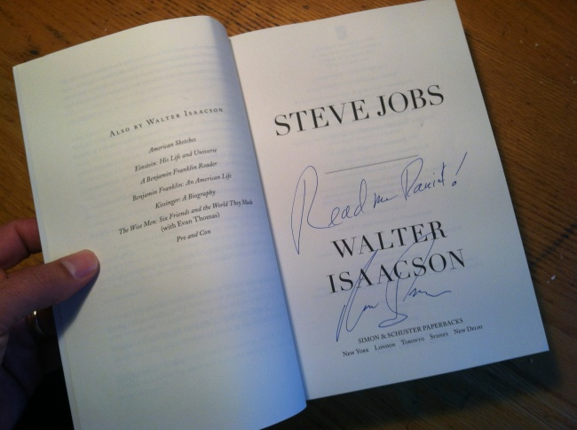 Walter Isaacson Signature Page for Steve Jobs Biography
