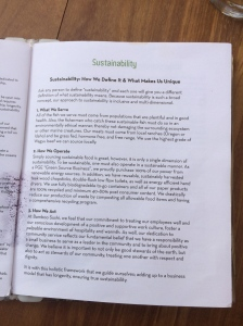 One of five pages of menu information on sustainable sushi.