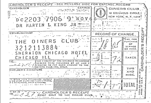 Dr. Martin Luther King's Diner's Club Card courtesy of FBI